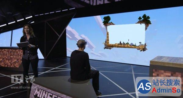 效果惊奇!戴着HoloLens眼镜玩《我的世界》游戏