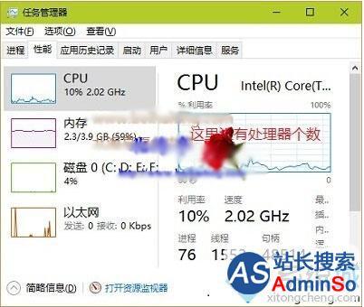 Win10任务管理器性能栏无法查看CPU核心个数