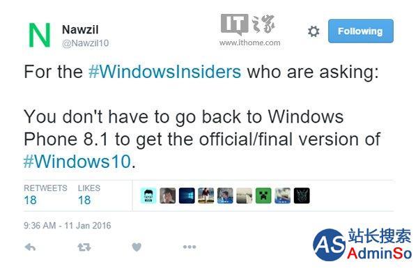 Win10 Mobile预览版升级正式版被曝无需回滚到WP8.1系统