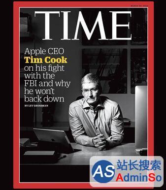 苹果CEO库克因拒绝帮助FBI登上时代杂志封面