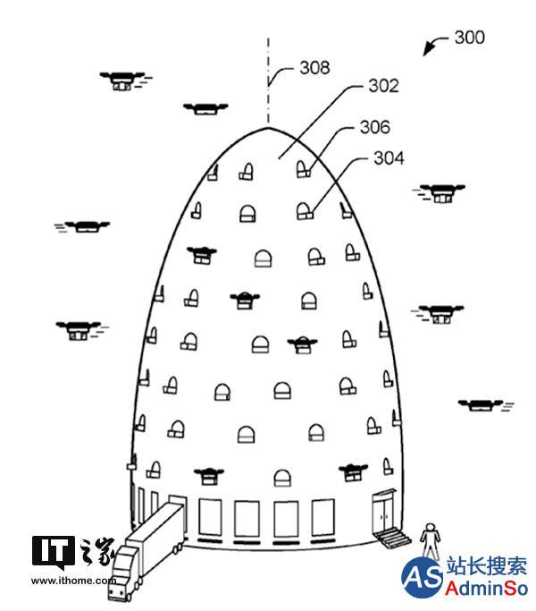 亚马逊快递无人机巨塔专利曝光:场景简直科幻
