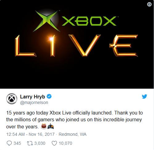 微软Xbox Live网络服务迎来15岁生日:铁杆粉祝贺