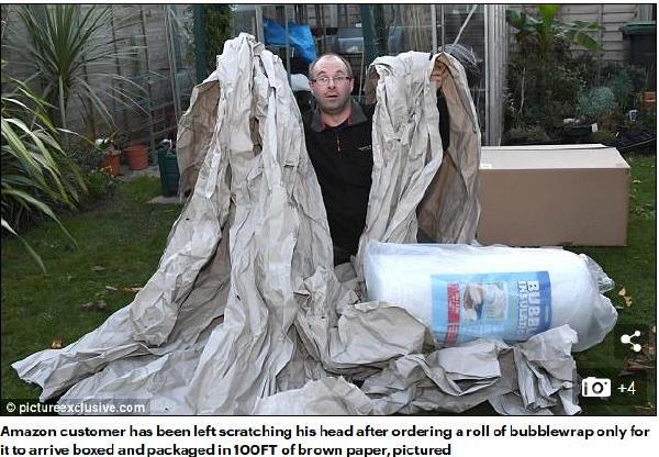 吓到用户:亚马逊快递包装纸竟长达30米