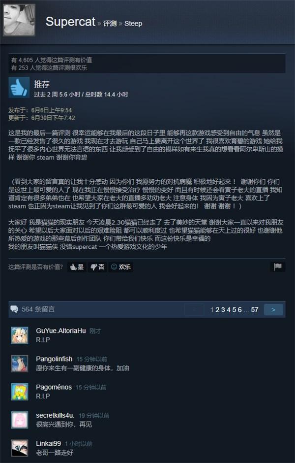 活在热爱的游戏里,网友纪念《Steep》离世玩家获育碧回复