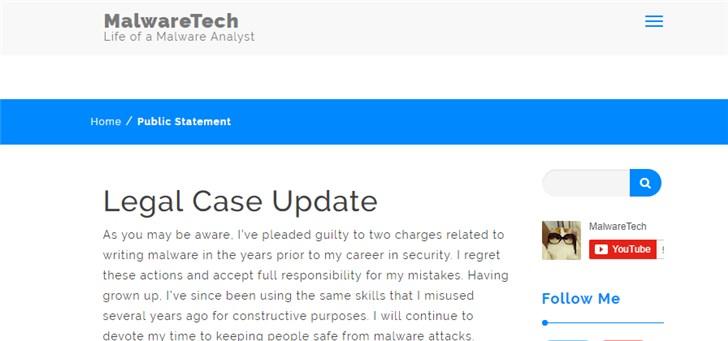阻止了WannaCry扩散的研究员承认开发恶意软件,最高面临10年监禁