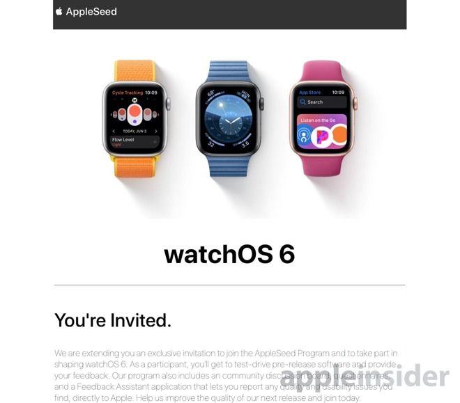 苹果已邀请部分watchOS6用户参与AppleSeed项目!