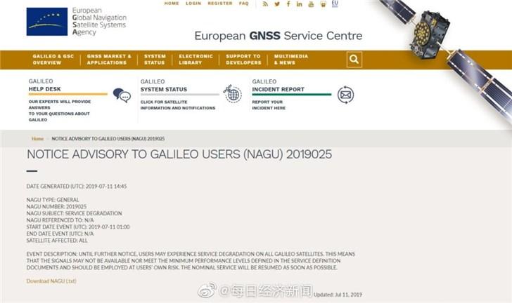 欧盟伽利略卫星导航服务中断,或因意大利的精确计时设施故障