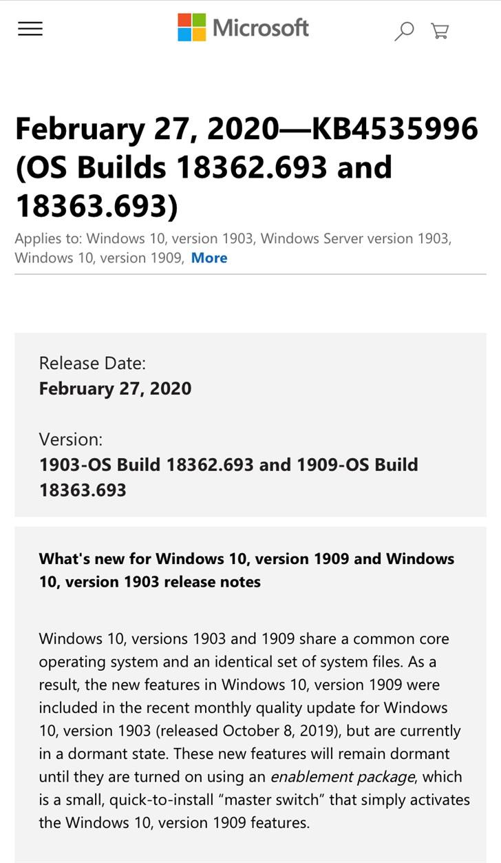 微软推送Windows10版本1909KB4535996累积更新