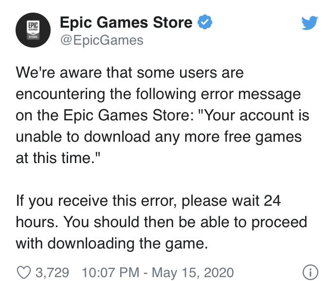 领《GYAV》玩家太多致免费游戏无法下载?Epic官方:等24小时即可