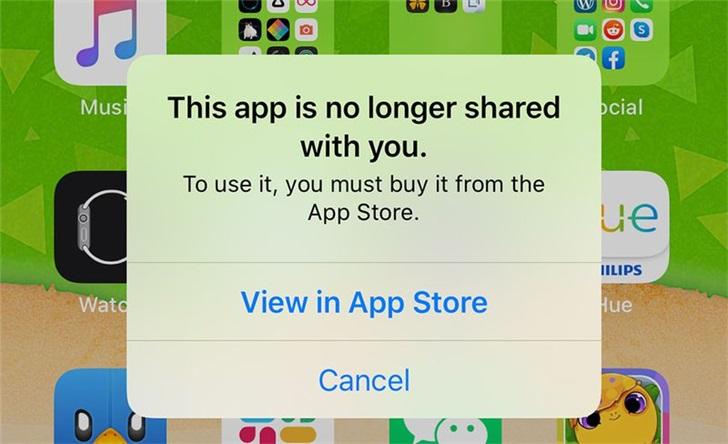"""部分外国iPhone用户收到""""此应用不再与您共享""""提示"""