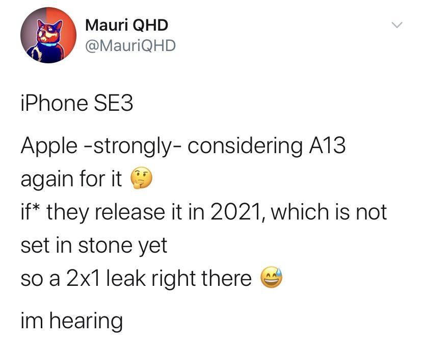 爆料:苹果iPhoneSE2Plus/SE3或仍将搭载A13处理器