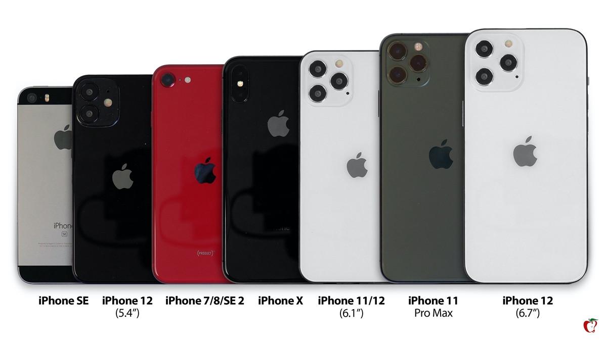大合照!苹果iPhone12模型对比iPhone7/8/X/11/11Pro