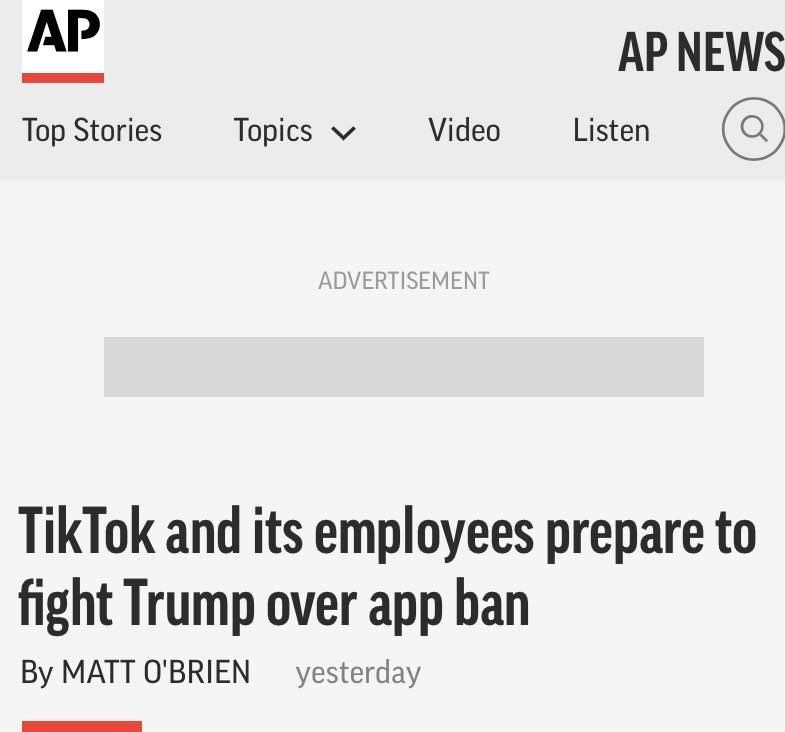 自行主导,TikTok美国员工正计划起诉特朗普政府