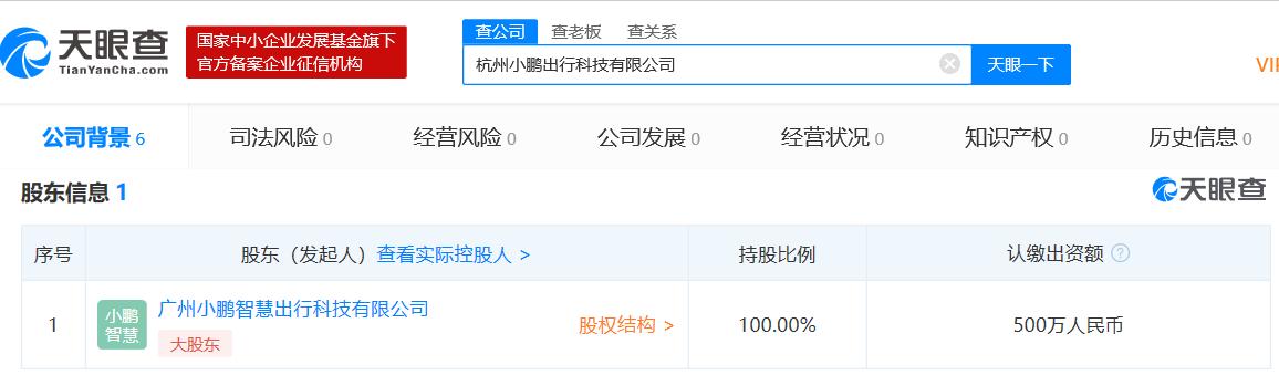 小鹏汽车成立全资子公司,注册资本500万人民币