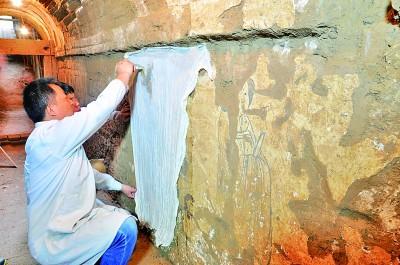 珍贵壁画重现唐代生活场景唐高祖李渊重孙墓道壁画部分修复