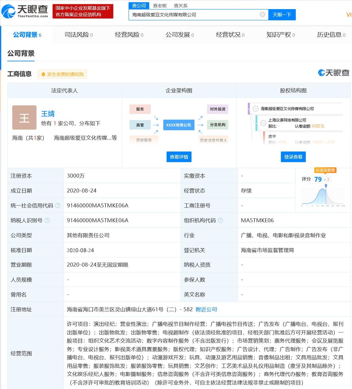 爱奇艺成立海南新公司
