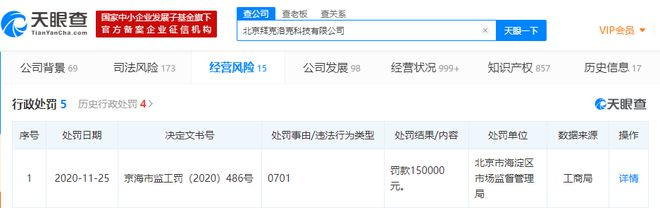 ofo关联公司新增行政处罚,被北京市监局罚款15万元