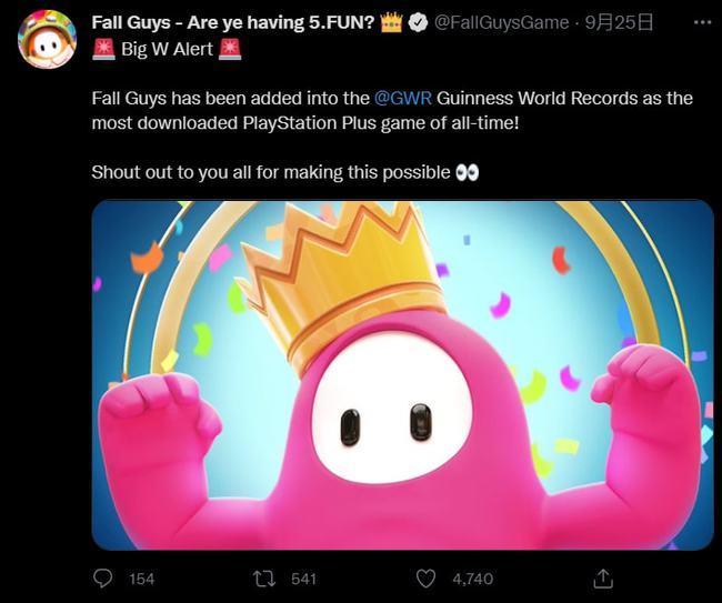 《糖豆人:终极淘汰赛》获吉尼斯纪录,成PS+下载最多的游戏